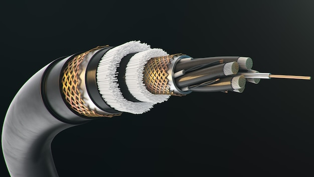 Fiber optic cable on a colored background. future cable technology. detailed cable cross section