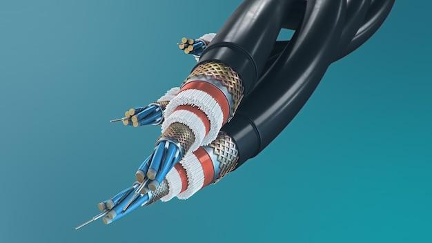 Волоконно-оптический кабель на цветном фоне. кабельные технологии будущего. подробное сечение кабеля