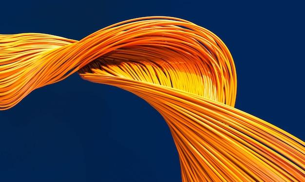 Волоконно-оптические кабели оранжевого цвета на синем фоне. 3d визуализация