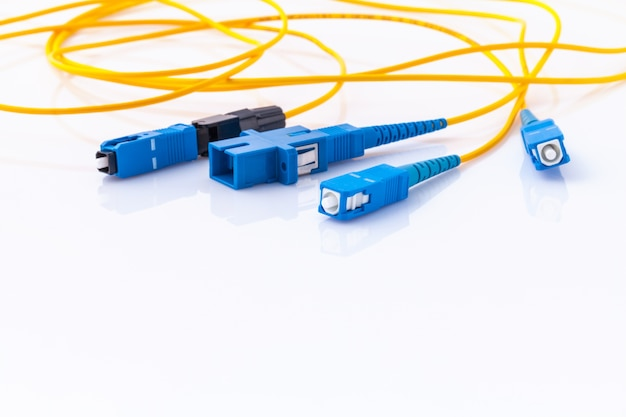 Fiber optics connectors symbolic photo for fast internet connection .