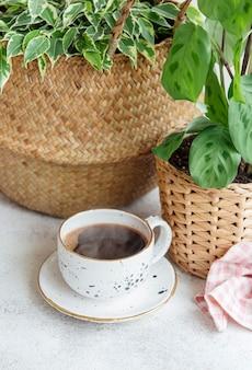 Фикус бенджамина в соломенной корзине, маранта керховеана и чашка кофе на столе
