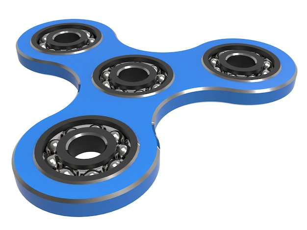 Fidget spinner stress relieving toy blue on white backgrond