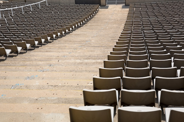 Field of empty stadium seats