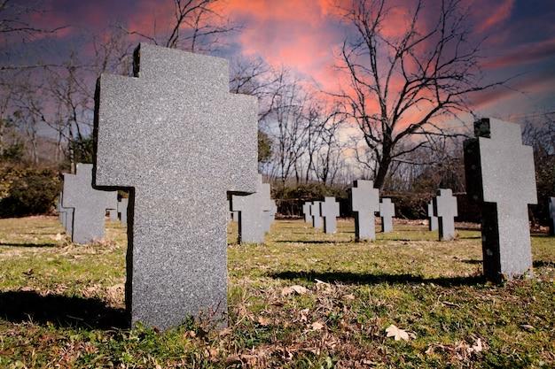 白い花崗岩の石の十字架でいっぱいのフィールド。記念墓地。倒れた兵士へのオマージュ。