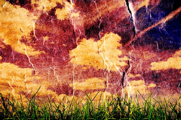 Поле зеленой травы изоляции на фоне ретро неба