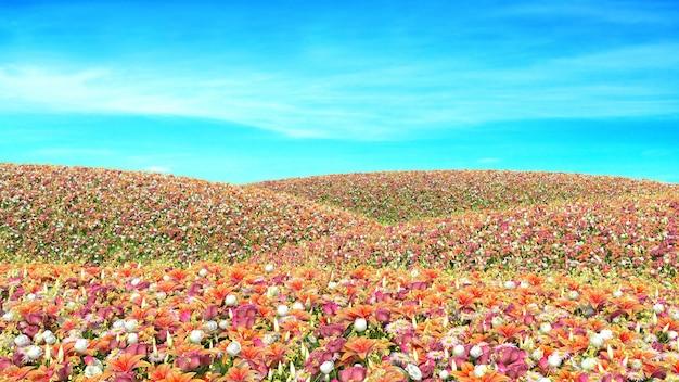 空を背景に花のフィールド