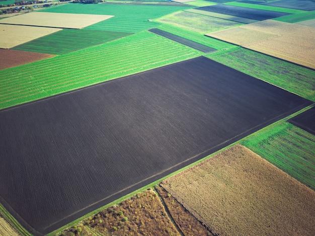 Поля с высоты птичьего полета, похожи на разноцветный геометрический узор.