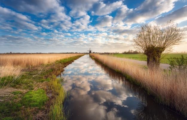 オランダの日の出の運河の近くのフィールド