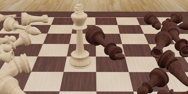 체스 보드 게임 3d 일러스트의 치열한 전투