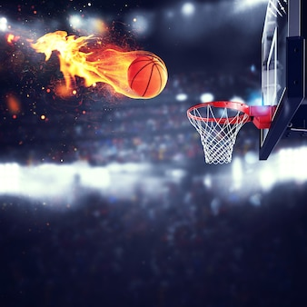 Fiery ball goes fast to the basket at the stadium