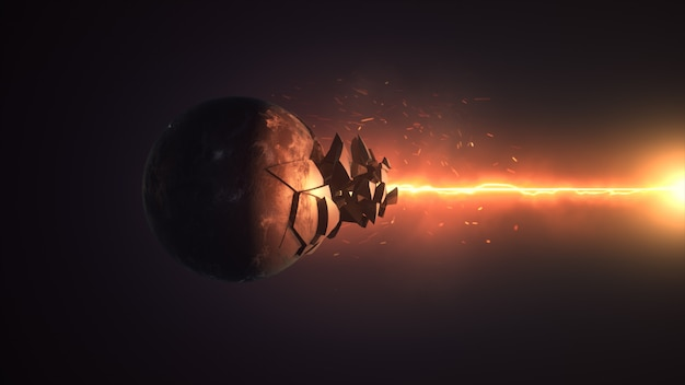 Fiery laser destroying the sphere 3d rendering