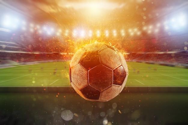燃えるようなサッカーボールがサッカースタジアムから出る