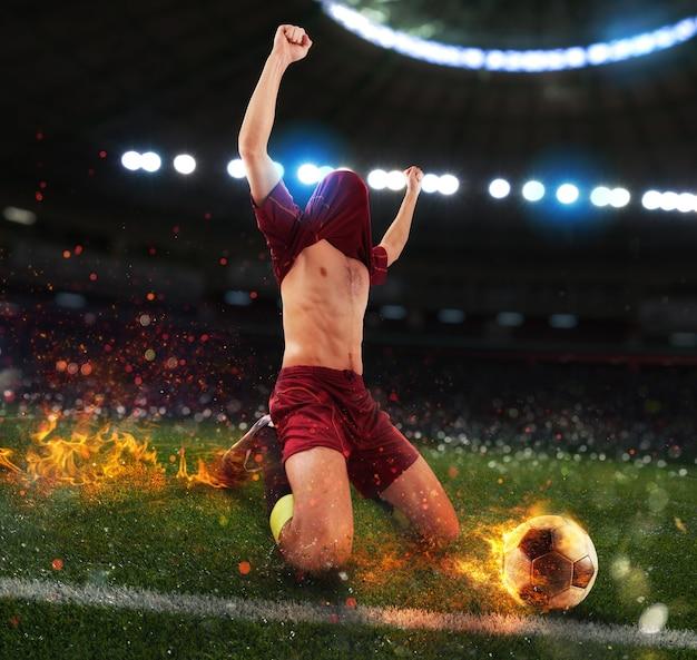 燃えるようなサッカー選手がサッカーの試合に勝つ