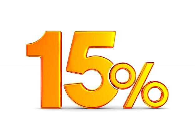 Пятнадцать процентов на пустом месте. изолированные 3d иллюстрации