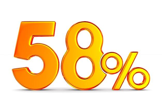Пятьдесят восемь процентов на белом пространстве. изолированные 3d иллюстрации