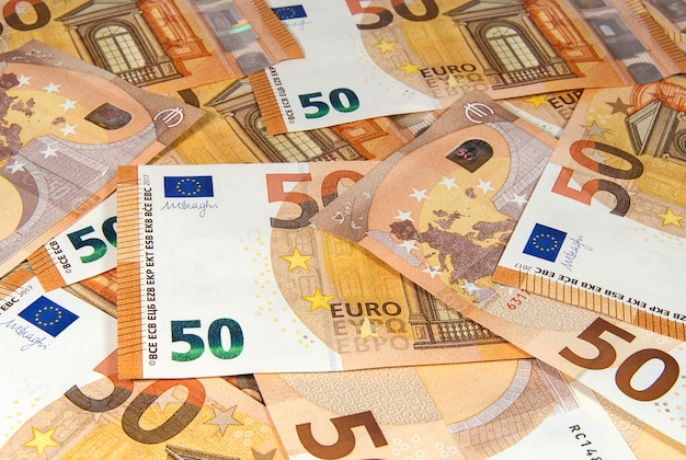 Fifty euro banknotes of new type close up