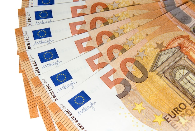 Fifty euro banknotes of a new type spread out like a fan