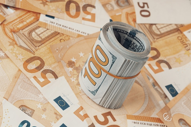 Fifty euros and one hundred banknotes background