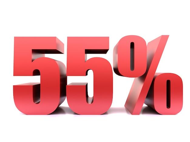 Пятьдесят пять процентов 55% символ. 3d визуализация