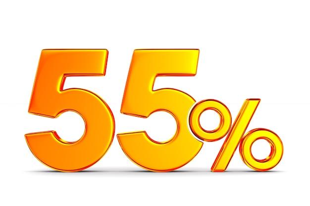 Пятьдесят пять процентов на пустом пространстве. изолированные 3d иллюстрации