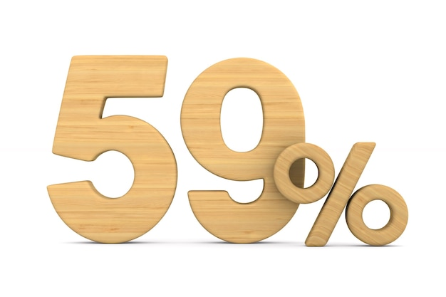 Пятьдесят девять процентов на белом фоне.