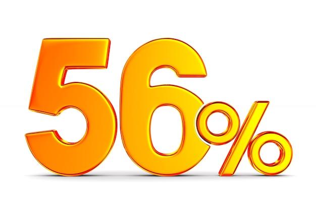 Пятьдесят шесть процентов на пустом пространстве. изолированные 3d иллюстрации