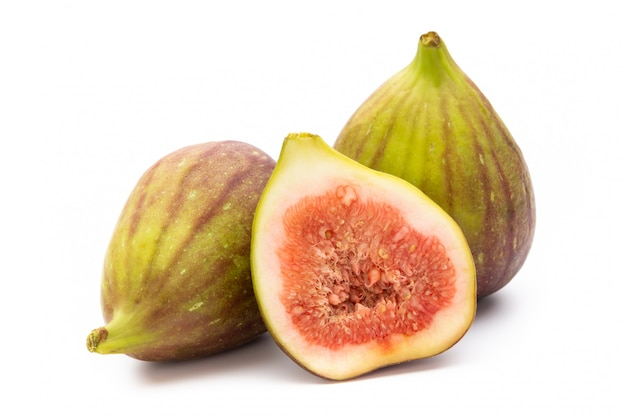 Fig fruits isolated on white. top view.
