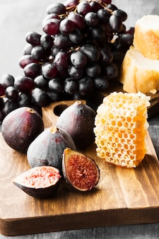 Fig, grapes, bread, honey and red wine