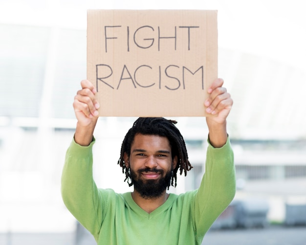 Fight racism quote black lives matter concept front view