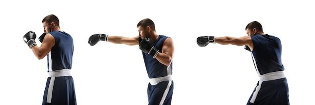 戦士。アクションで若いプロのボクサートレーニング、白い背景で隔離のステップツーステップキックの動き。スポーツ、運動、エネルギー、ダイナミックで健康的なライフスタイルのコンセプト。チラシ。