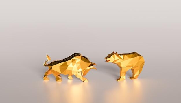 Борьба с быком и медведем, бычий и медвежий фондовый рынок, рендеринг 3d-иллюстрации
