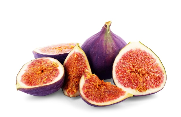 Figs cut into pieces on a white background