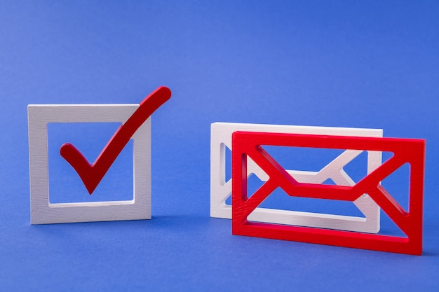 Figure of mail box get receive send message voting yes