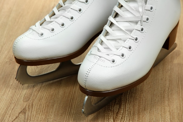 Figure skates on table close-up
