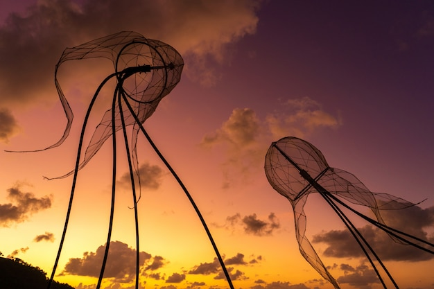 Figures of jellyfish on a background of colorful sunset.