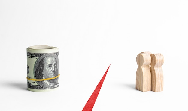 Figures of people and a bundle roll of money are separated by a red line. inaccessibility of funds