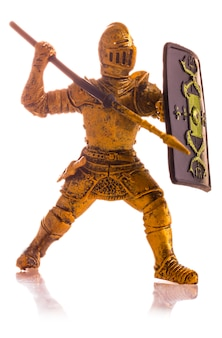Figurine a medieval knight isolated