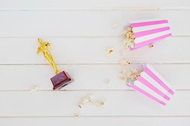 Figurine and popcorn in arrangement