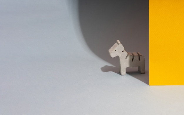 Figurine toy animal handmade concrete and plaster zebra for playing with children and minimalistic
