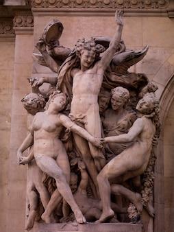 Figurines on palais garnier in paris france