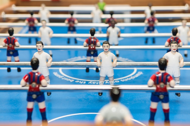 Figurines on table football