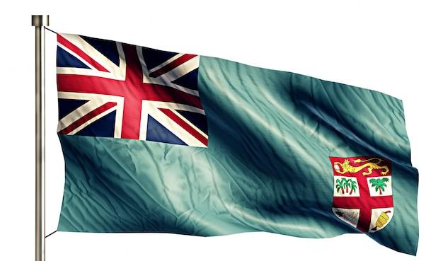 Fiji national flag isolated 3d white background