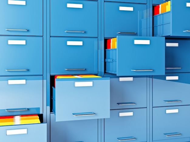 File cabinet and folder 3d image