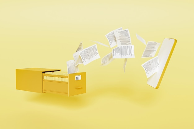 File cabinet full of folders with papers flying to a modern mobile phone mockup