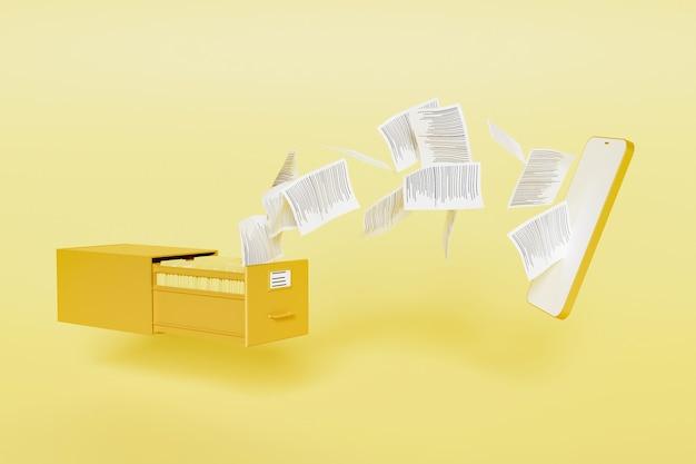 Карточный шкаф, полный папок с бумагами, летящих к макету современного мобильного телефона