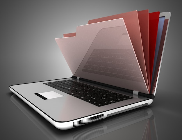 File in database - laptop and folders.3d illustration