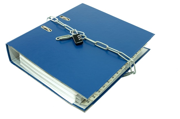 File folders report on the table locked with key chain.