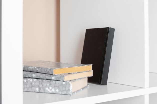 File folders, standing on the shelves at office