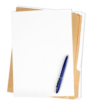 Папки с файлами с белыми страницами