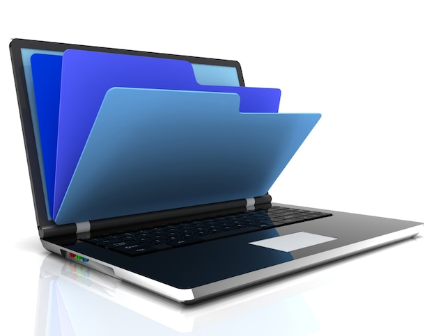 데이터베이스의 파일 - 랩톱 및 폴더